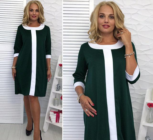 Женское платье свободного силуэта, Таира размер 48-50, 52-54 / большого размера, цвет зеленый