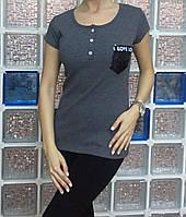 Летняя женская турецкая футболка с карманом из пайеток, фото 1