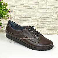 Туфли женские кожаные коричневые на шнуровке, фото 1