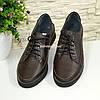 Туфли женские кожаные коричневые на шнуровке, фото 4