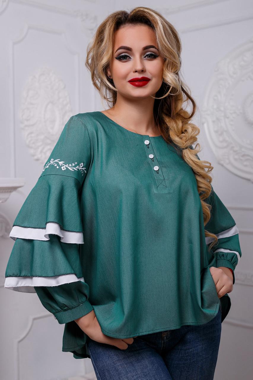 Романтичная женская блузка с воланами из коттона, зелёная, размеры от 42 до 50