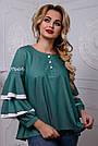 Романтичная женская блузка с воланами из коттона, зелёная, размеры от 42 до 50, фото 2
