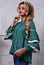 Романтичная женская блузка с воланами из коттона, зелёная, размеры от 42 до 50, фото 4