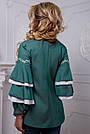 Романтичная женская блузка с воланами из коттона, зелёная, размеры от 42 до 50, фото 5