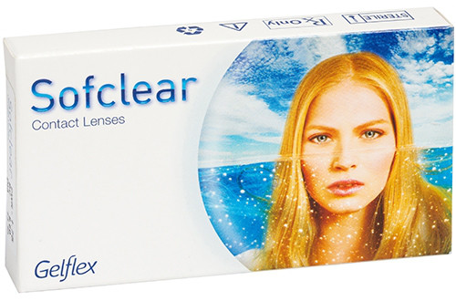 Линзы контактные на 1 месяц Sofclear  (3 шт+1 шт в подарок), Gelflex (Австралия), (4 шт)