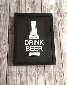Копилка для пивных крышек Drink beer 36x27х5 см Черная