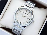Кварцевые наручные часы Burberry серебро, с датой, на металлическом браслете, фото 1
