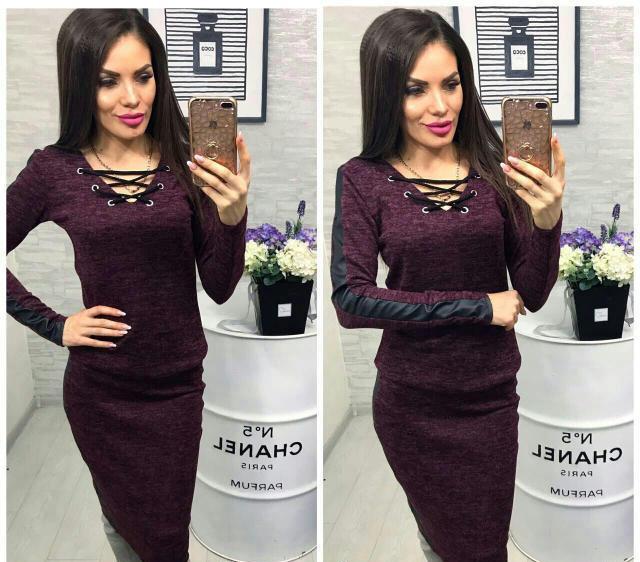 Женский ангоровый костюм Лавита с кожаными вставками / цвет бордо / размер 42-46, 48-50