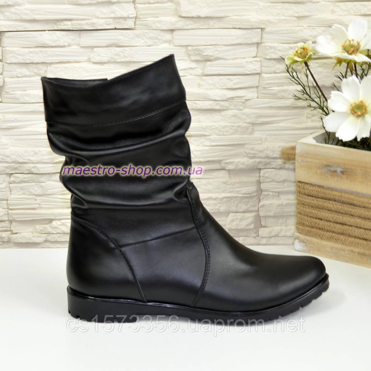 Женские зимние ботинки из натуральной кожи черного цвета