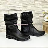 Женские зимние ботинки из натуральной кожи черного цвета, фото 2