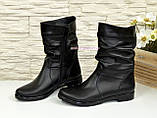 Женские зимние ботинки из натуральной кожи черного цвета, фото 3