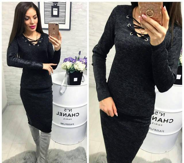 Женский ангоровый костюм Лавита с кожаными вставками / цвет черный / размер 42-46, 48-50