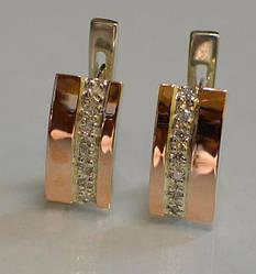 Серебряные серьги с золотыми накладками (040с)