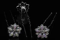 Шпильки для волос Anemonella (цвет серебра) в виде цветка с бусинами, металл, шпилька металлическая, аксессуар для волос, аксессуар для создания