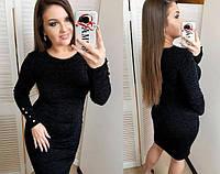 Женское теплое ангоровое платье Перрис большие размеры / размер 50,52,54 цвет черный