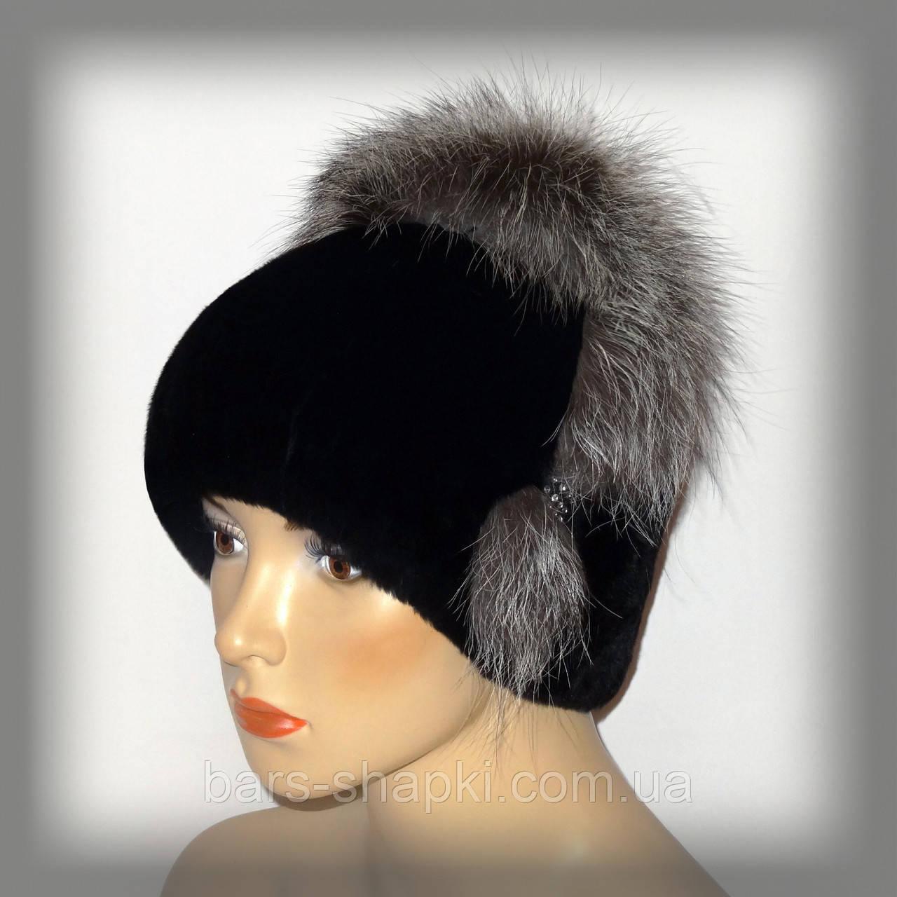 Меховая шапка из Rex Rabbit (комбинированная с чернобуркой)