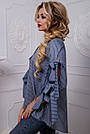 Оригинальная женская хлопковая рубашка синяя в полоску, фото 4