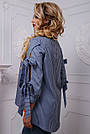 Оригинальная женская хлопковая рубашка синяя в полоску, фото 6