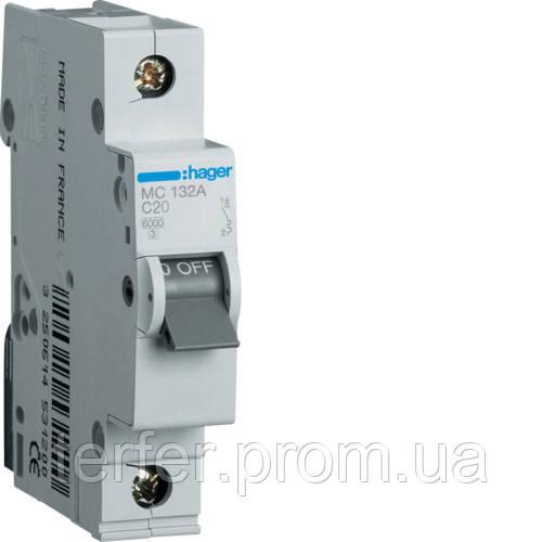 Автоматичний вимикач 1P 6kA C-32A 1M  MC132A Hager