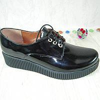 Женские туфли из натуральной лакированной кожи черного цвета