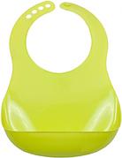 Слюнявчик силиконовый с карманом на застежке  салатовый