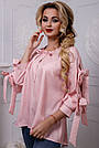 Женская рубашка хлопковая розовая в полоску, фото 2