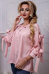Оригинальная женская рубашка из льна, розовая в полоску, размеры от 42 до 48