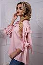 Женская рубашка хлопковая розовая в полоску, фото 4