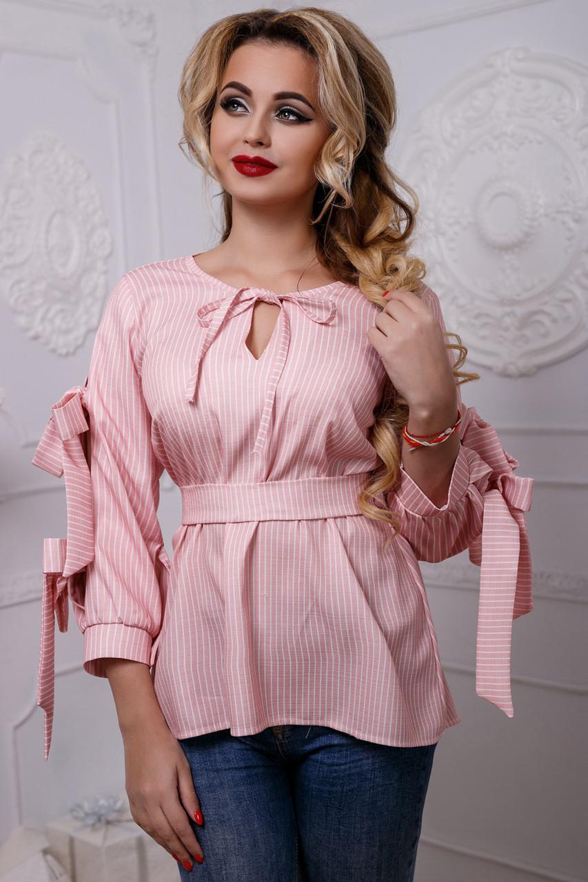 Женская рубашка хлопковая розовая в полоску