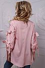 Женская рубашка хлопковая розовая в полоску, фото 5