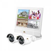 Комплект IP видеонаблюдения Partizan Outdoor Wireless Kit LCD 2Mp 2xIP