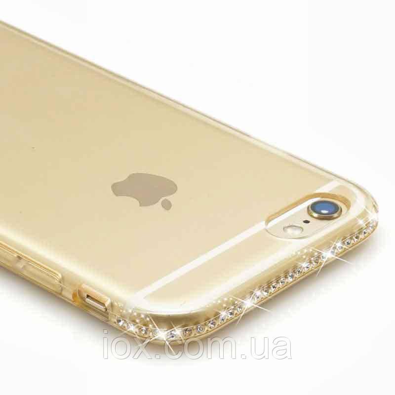 Золотистый силиконовый чехол-накладка с камушками Swarovski для Iphone 5/5S