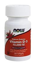 Витамин D3, Now Foods, Vitamin D-3, 10,000 IU, 120 Softgels,