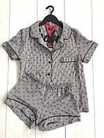 Женские пижамы Exclusive, комплект шорты и рубашка в полоску.