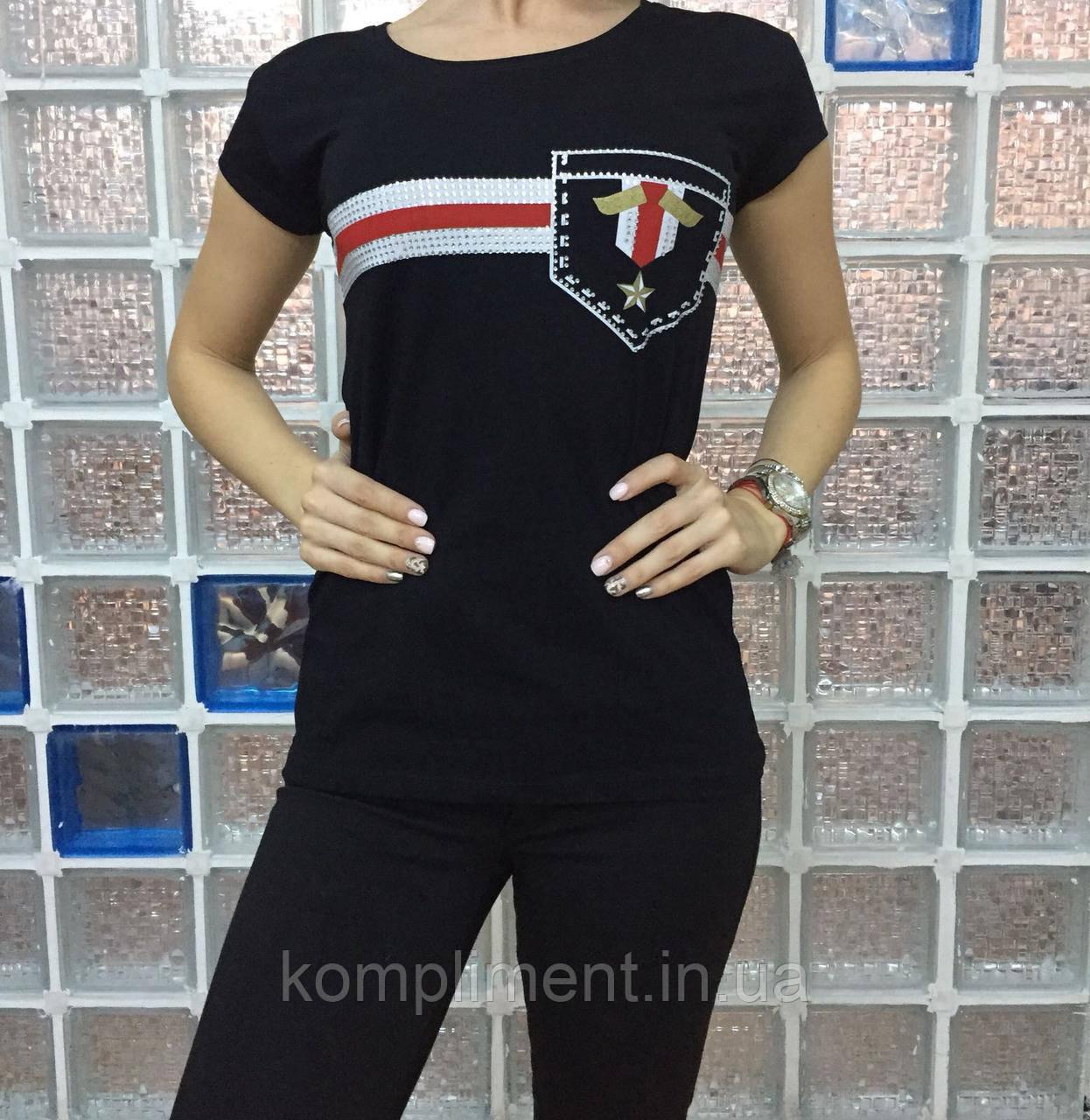 Летняя женская турецкая футболка с оригинальным рисунком