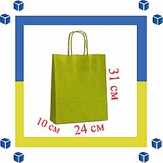 Бумажный пакет с витыми ручками салотовый (240мм/100мм/310мм)