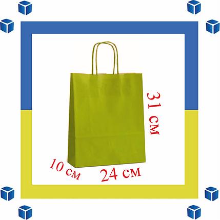 Бумажный пакет с витыми ручками салотовый (240мм/100мм/310мм), фото 2
