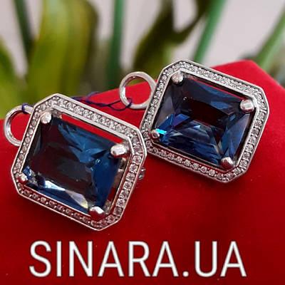 Серебряные серьги с синим камнем - Серьги с альпинитом серебро