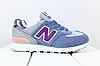 Женские замшевые кроссовки New Balance 574 синие (реплика), фото 2