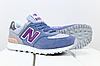 Женские замшевые кроссовки New Balance 574 синие (реплика)