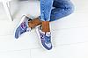 Женские замшевые кроссовки New Balance 574 синие (реплика), фото 4