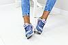 Женские замшевые кроссовки New Balance 574 синие (реплика), фото 5