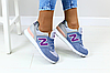 Женские замшевые кроссовки New Balance 574 синие (реплика), фото 6