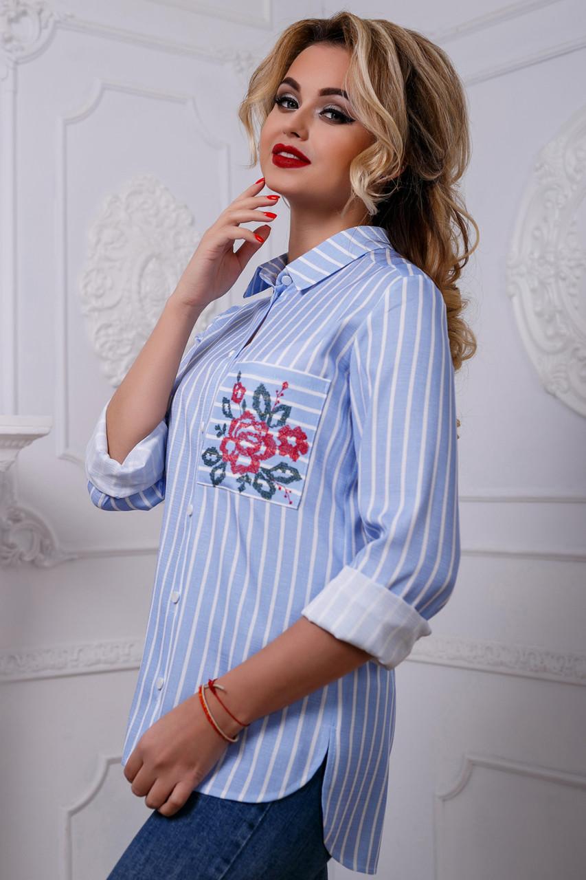e88fc38b3d65 Женская рубашка из льна в полоску, с вышивкой, голубая, размеры от 44 до 50