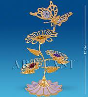 """Композиция """"Бабочка на трех цветках"""" с цв.кр. (Юнион) AR-1124/ 1"""