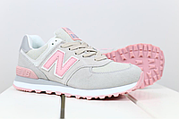 Женские кроссовки New Balance 574 серые с розовым