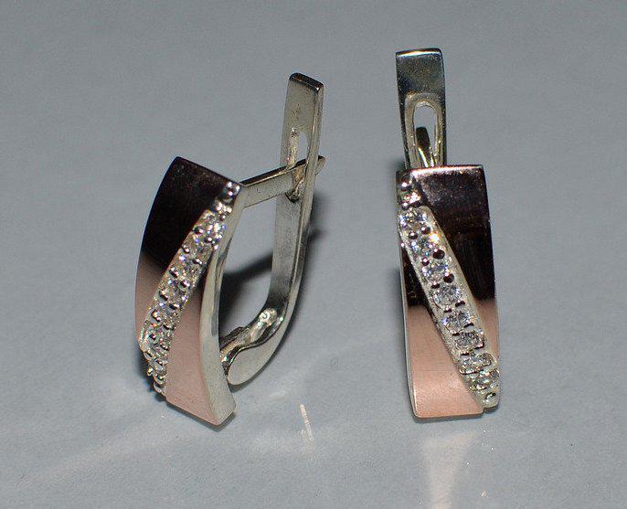 Серьги серебряные с золотыми пластинками (053с)