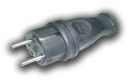Вилка однофазная 2Р+РЕ 1х16А 220-240V (каучук)