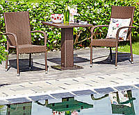 Комплект садовой плетеной мебели коричневой (2 кресла + слол квадратный)
