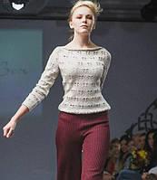 """Дизайнерский вязаный женский свитер машинной вязки, с ажурными принтами """"Бабочки"""""""